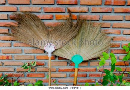 two-traditional-thai-brooms-against-a-brick-wall-with-some-green-leaves-hhphft